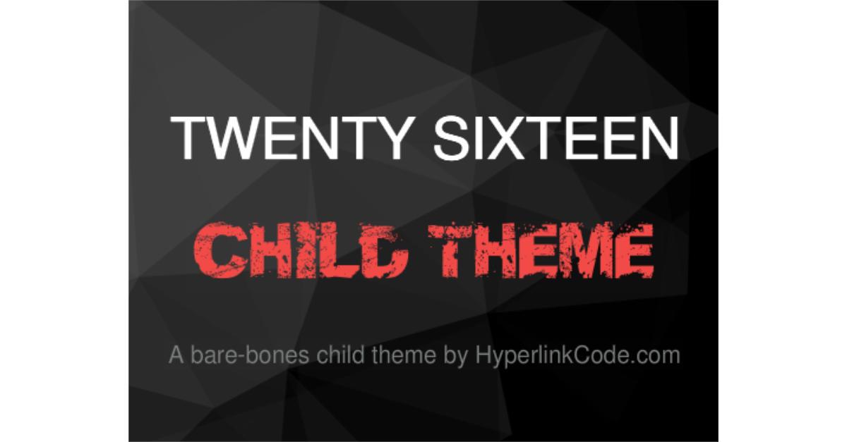 TwentySixteen Child Theme OG Image