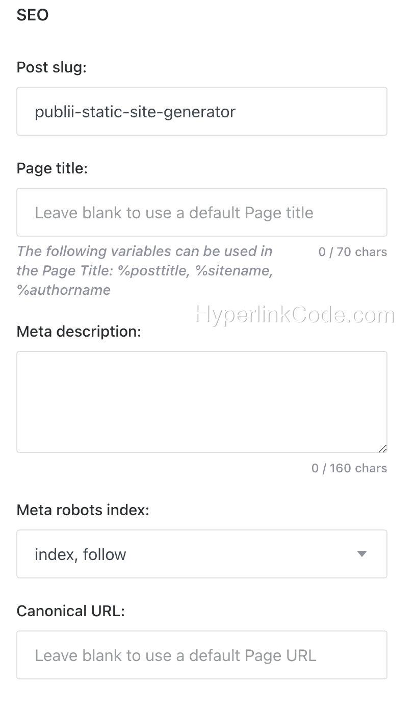 Publii Metadata SEO Settings