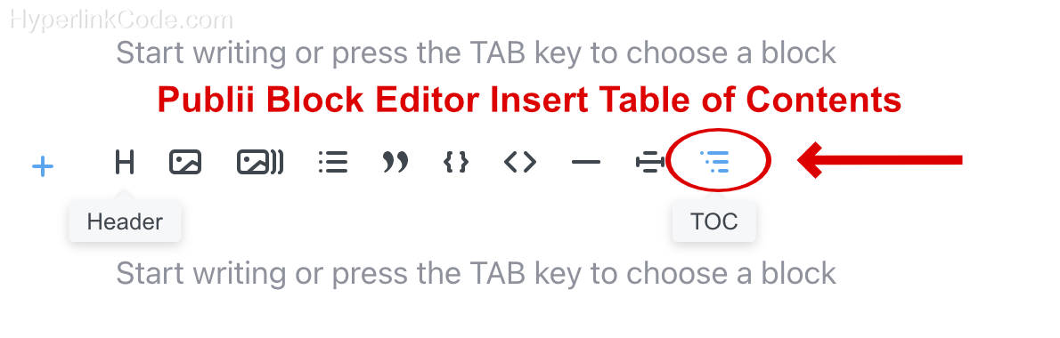 Publii Block Editor Insert Page Navigation Bookmarks