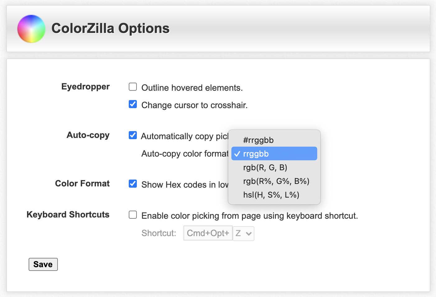 ColorZilla Options